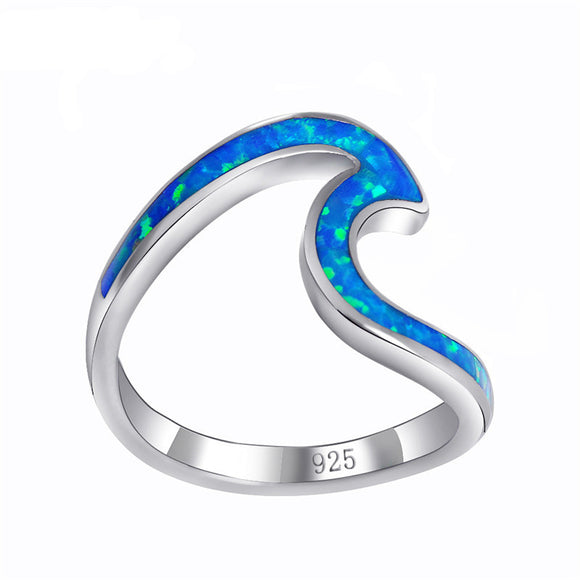 Sattaj 925 Sterling Silver Opal Wave Rings