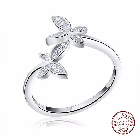 925 Adjustable Rings Flower Design with Austrian Cubic Zirconia