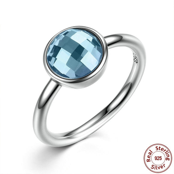 925 Sterling Silver Rings Blue Imitated Stone
