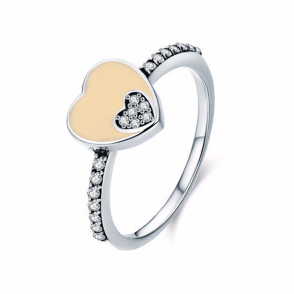 Sattaj 925 Sterling Silver Sweet Double Heart Ring