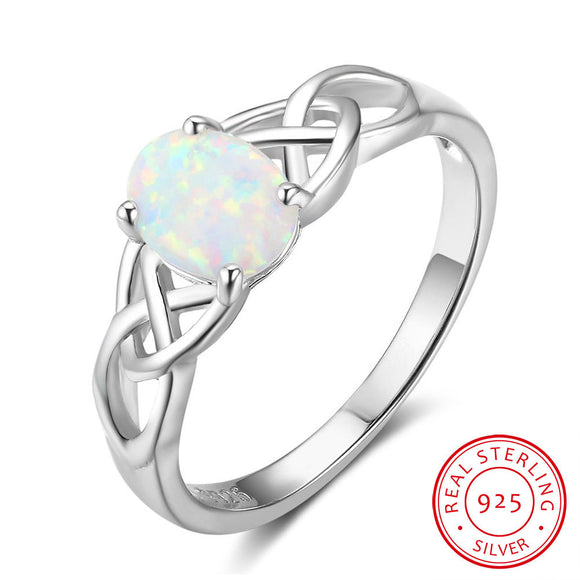 Sattaj 925 Sterling Silver Oval White Opal Stone Rings With Cubic Zirconia