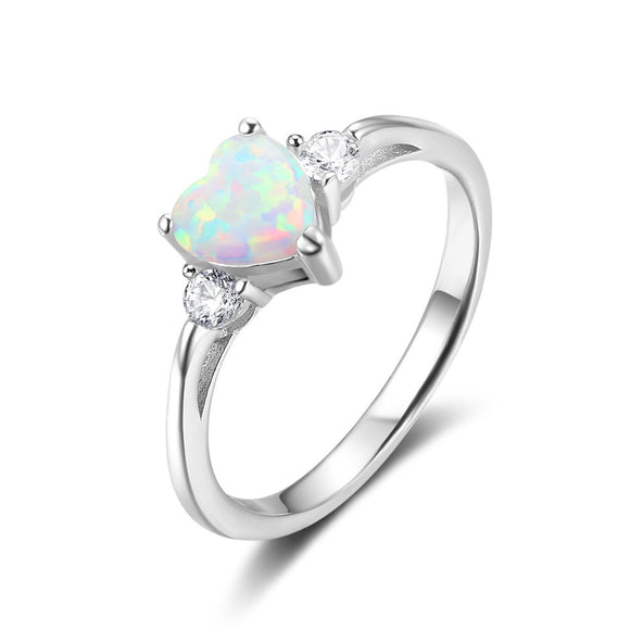 Sattaj 100% 925 Sterling Silver Heart shaped White Opal Stone