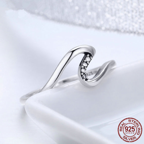 Sattaj 925 Sterling Silver Geometric Wave Finger Rings with stones
