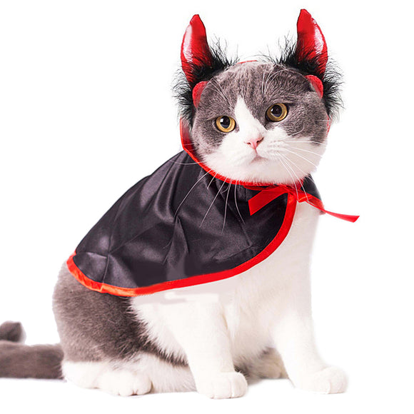 Vampire Cloak Cape Dog Cap with Cosplay Horns