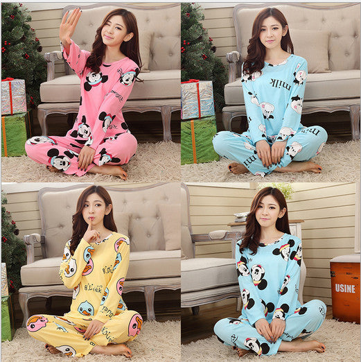 Womens pajamas sweet cotton Animal Cartoon little cat Winter Pajamas Woman Indoor Clothing Home Suit Sleepwear Pyjamas