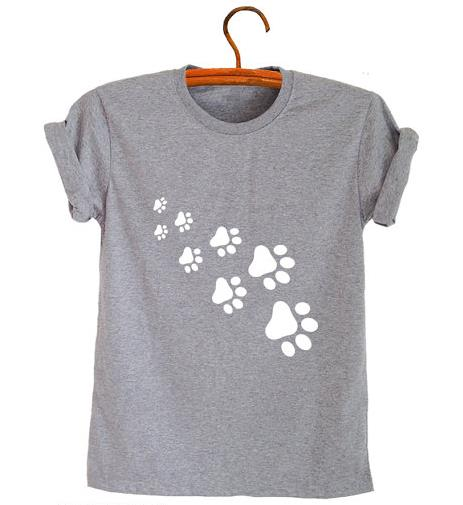 cat paws print t-shirt Cotton Casual Funny For Lady