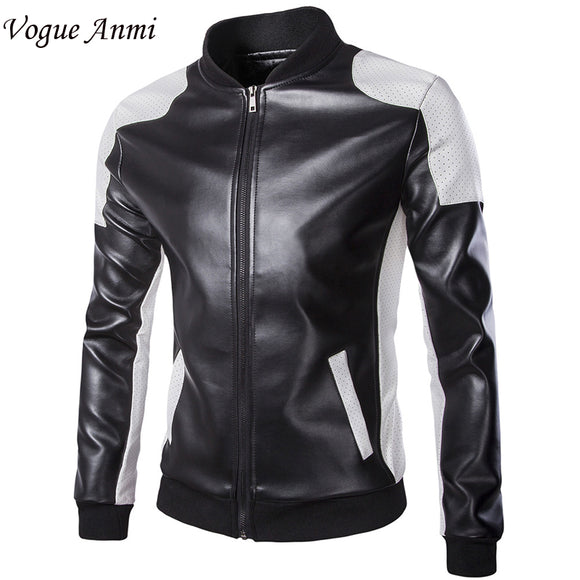 2016 new leather jacket men Leather,Mandarin Collar,Contrast Color,Coat male,Leather jacket men,mens leather jackets and coats