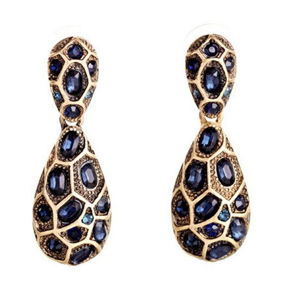 ATHENA 2018 New Design Bohemian Fashion Vintage Blue Gem Brand Earrings For Women Hot Sales European and American Charm Jewelry