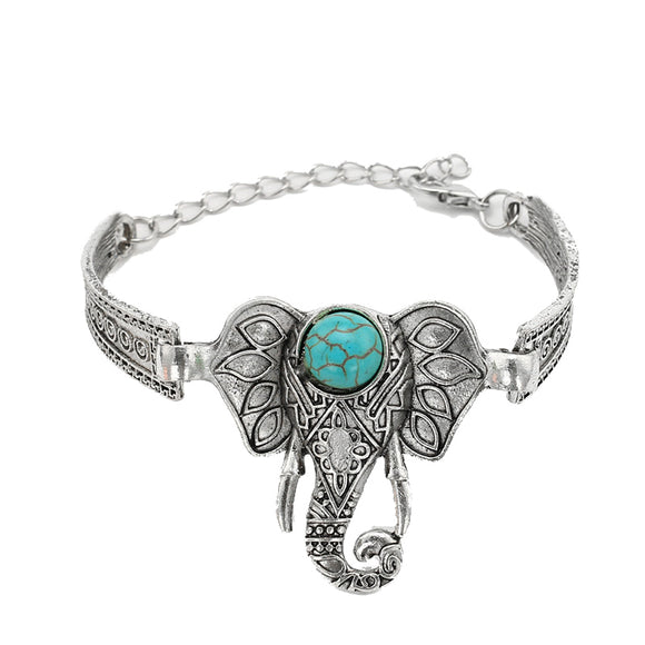 Elephant Arm Cuff Open Adjustable Bracelet New Fashion Natural Stone Bangles Antioue Silver color Bracelets Bangles For Women