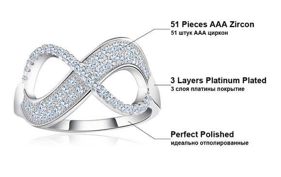 46 - Unique Bow Design  with Clear Zircon  Fashion Infinity Ring