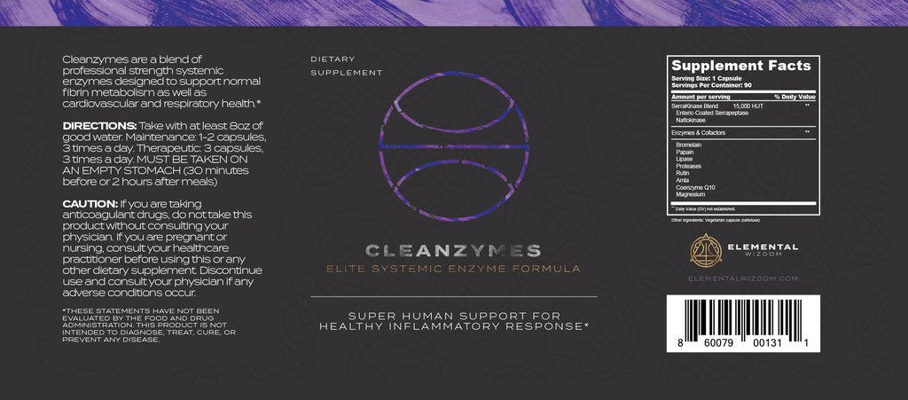 Cleanzymes Elite Systemic Enzyme Formula by Elemental Wizdom