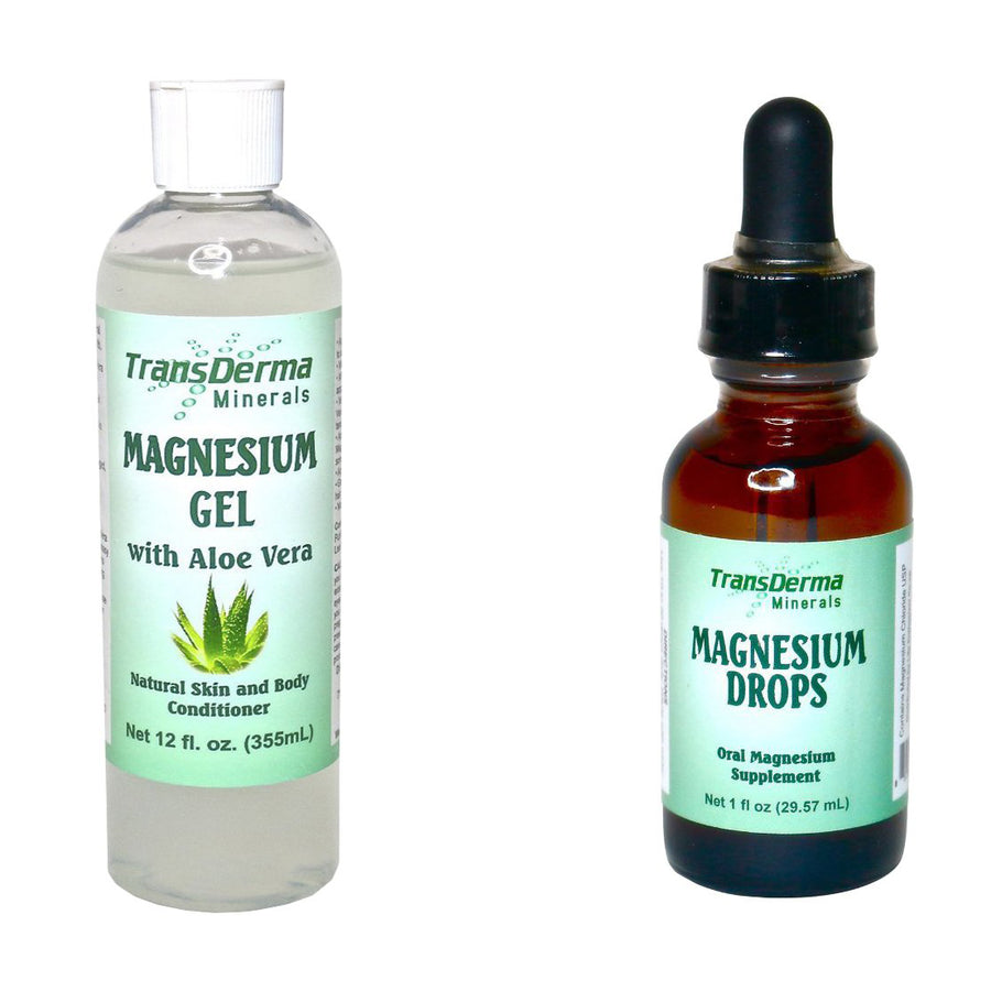 The Ultimate Relaxation Bundle: 1 oz. Magnesium Drops + 12 oz. Magnesium Gel (Regular or with Aloe Vera)<br>TransDerma Minerals
