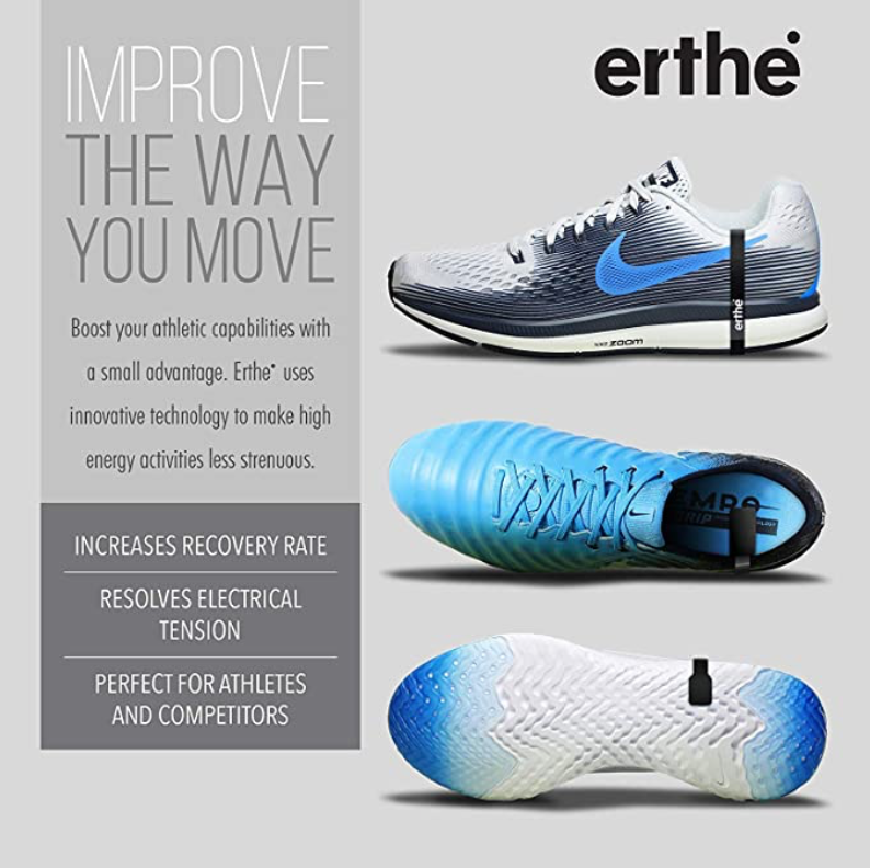 EARTHLING 3.0 - Erthe Athletic Grounding Shoe Strap - Electrically Conductive Band Fits All Shoes - Removes Electric Tension to Increase Performance