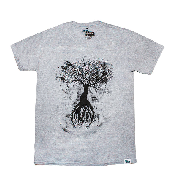 Tempo Grey Tree Design T-Shirt - Tempo Tea Bar