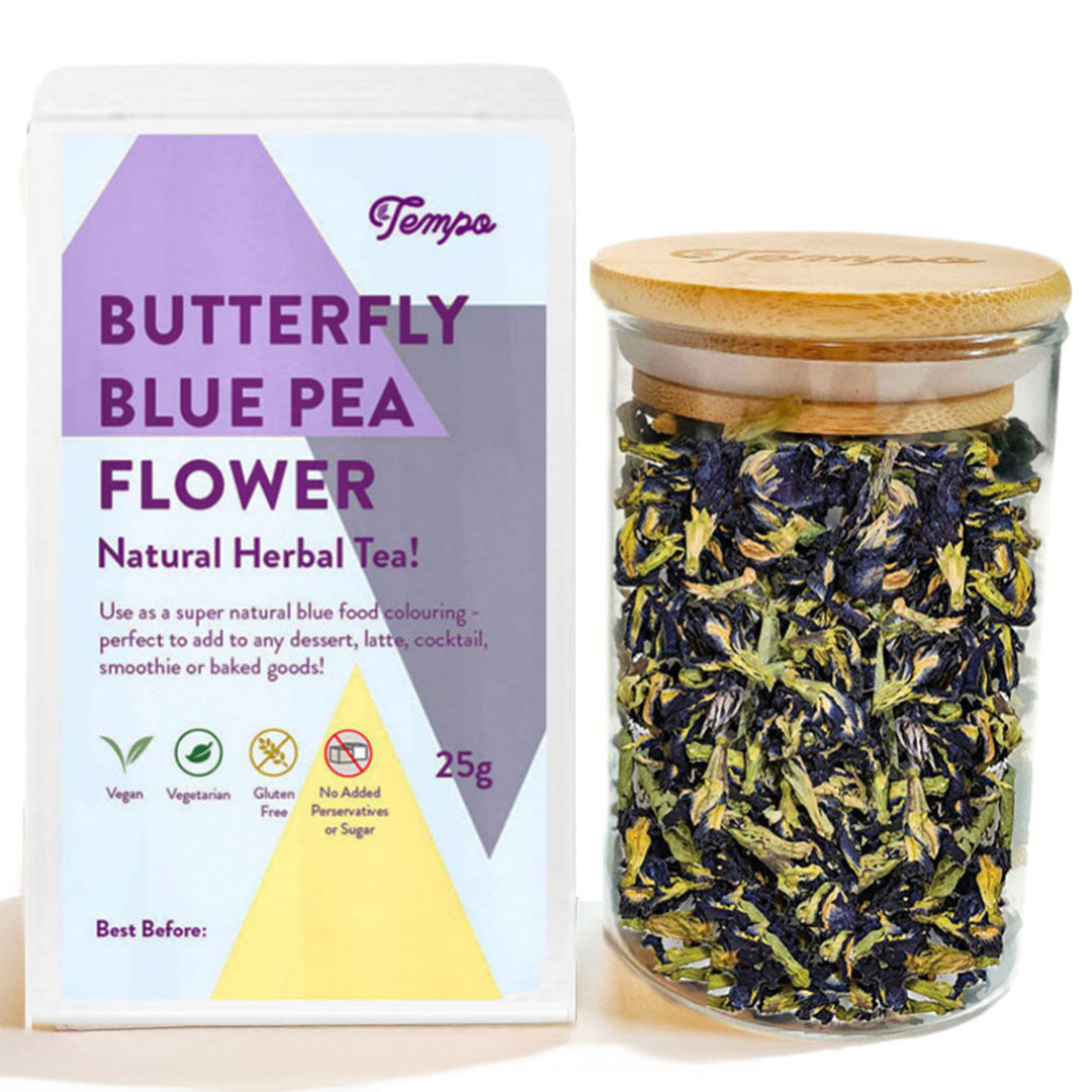 Butterfly Blue Pea Flower (25g) in Reusable Bamboo Glass Jar - Tempo Tea Bar