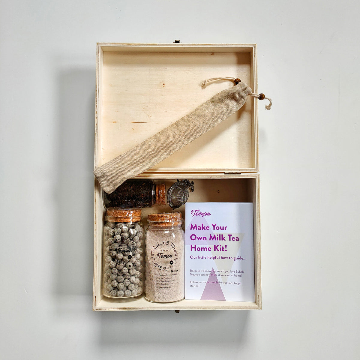 Eco-Friendly Home Kit in Soft Wooden Box : Make Your Own Bubble Tea Gift Set (Milk) with Fast Cook Tapioca (Ready in 6mins) | Serves 5 - Tempo Tea Bar