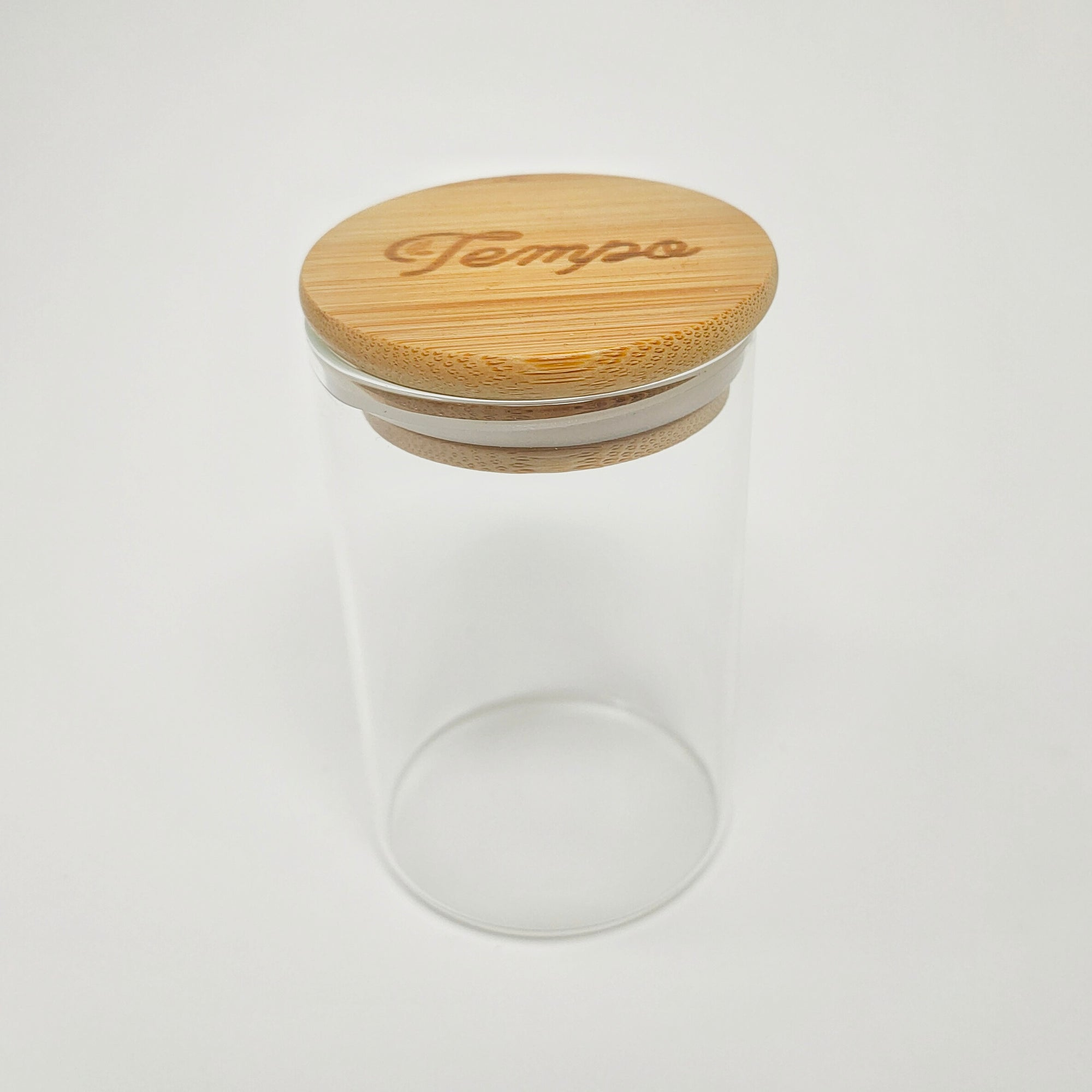 Bamboo Round Glass Airtight Storage Jar (300ml) - Tempo Tea Bar