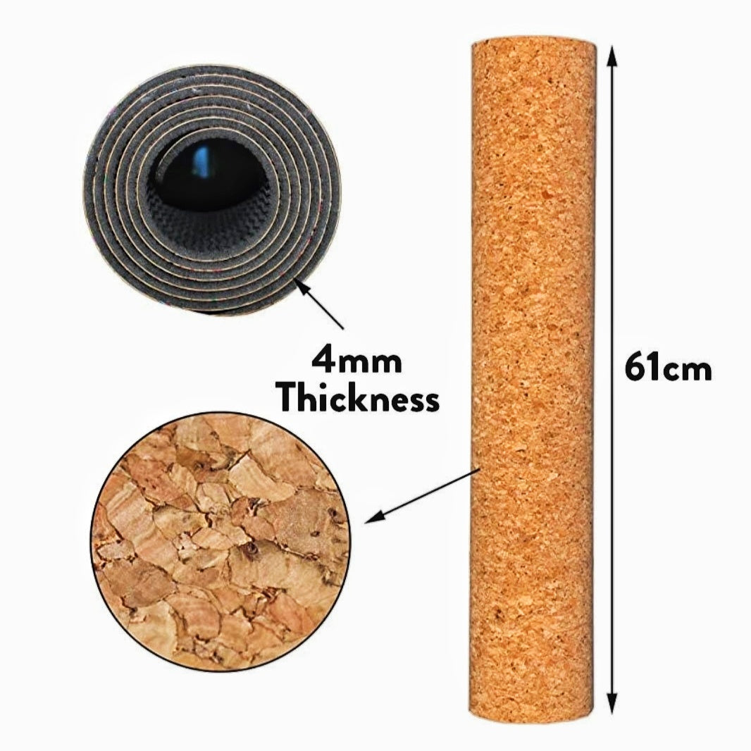 Mind Body Future Natural Cork Yoga Exercise Mat with Carry Strap | Home Fitness Equipment - Tempo Tea Bar