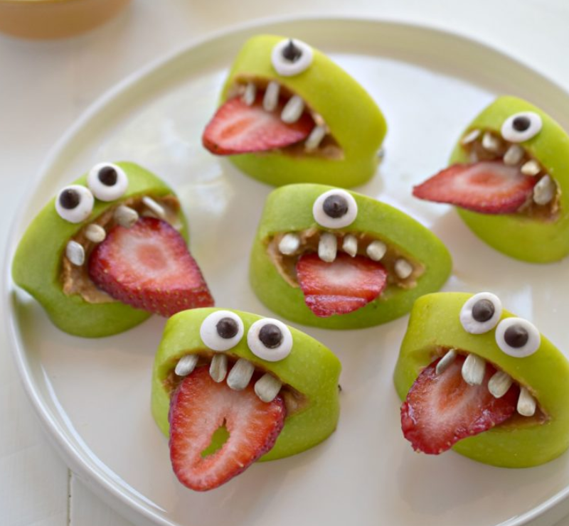 healthy halloween treats snacks for kids toddlers babies apples strawberries ghost zombies monster