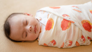 organic swaddle cotton bamboo lemon cute baby the wee bean