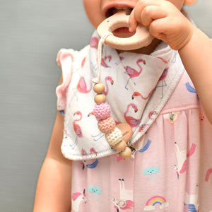 natural beech wood organic teether with crochet pacifier clip