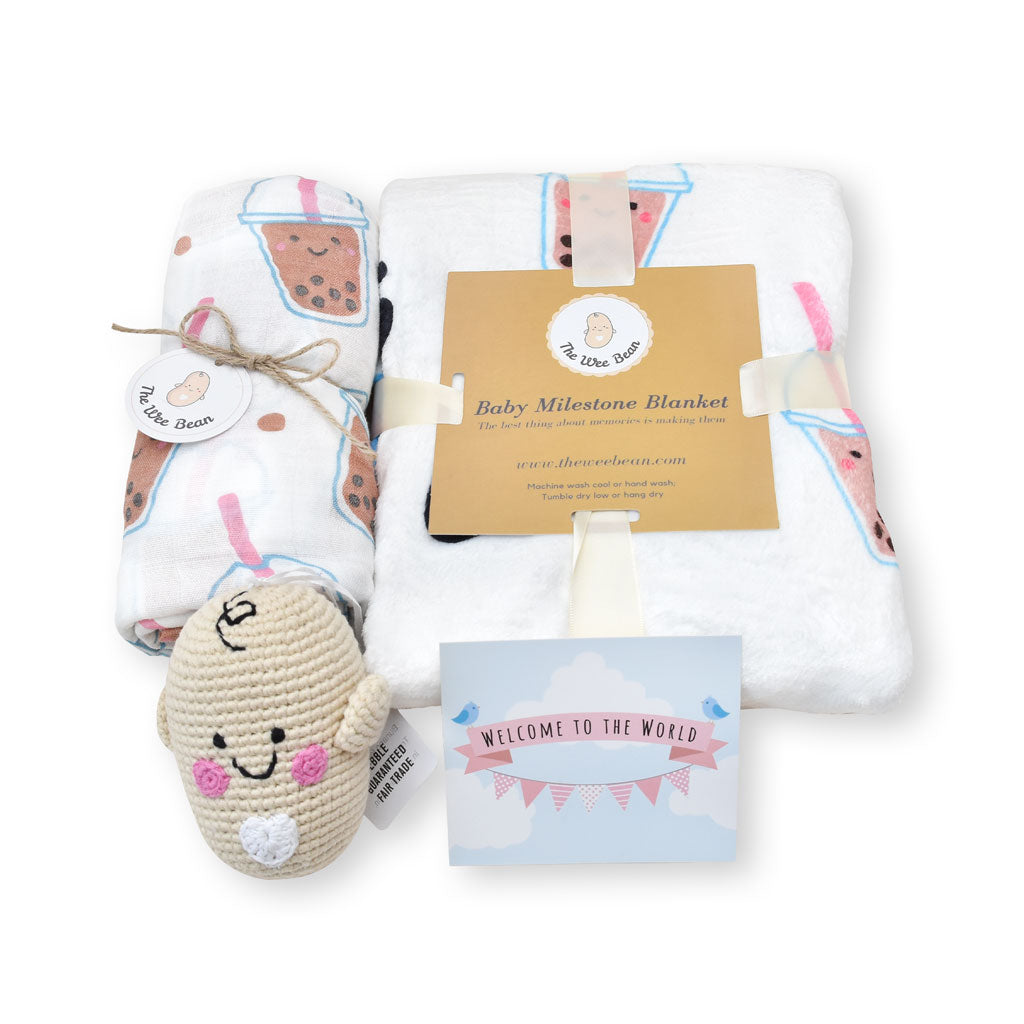 the wee bean baby organic gift sets boba bubble tea organic cotton bamboo swaddle milestone blanket fair trade doll gift set
