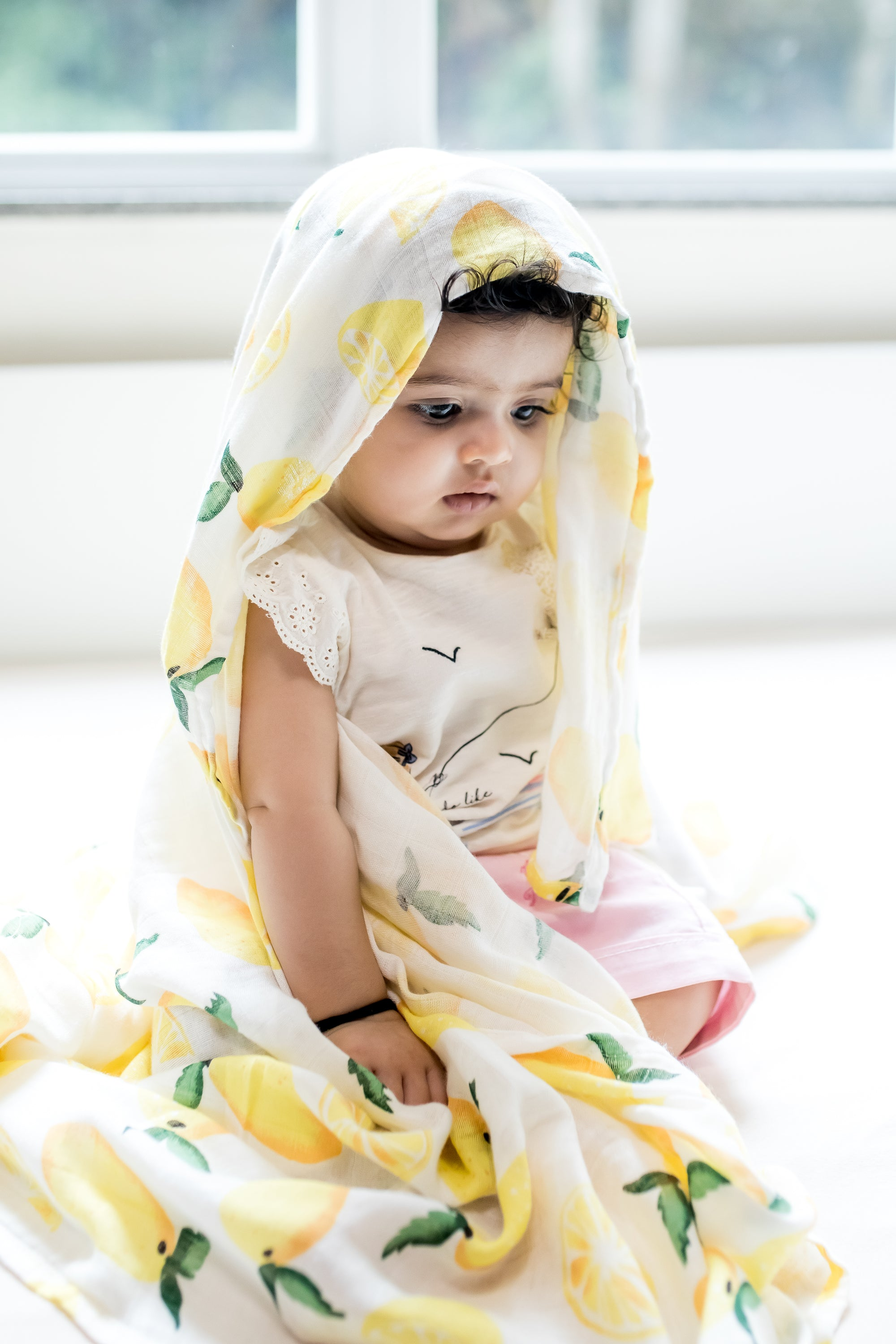 organic cotton and bamboo swaddle in lemon cute indian baby the wee bean