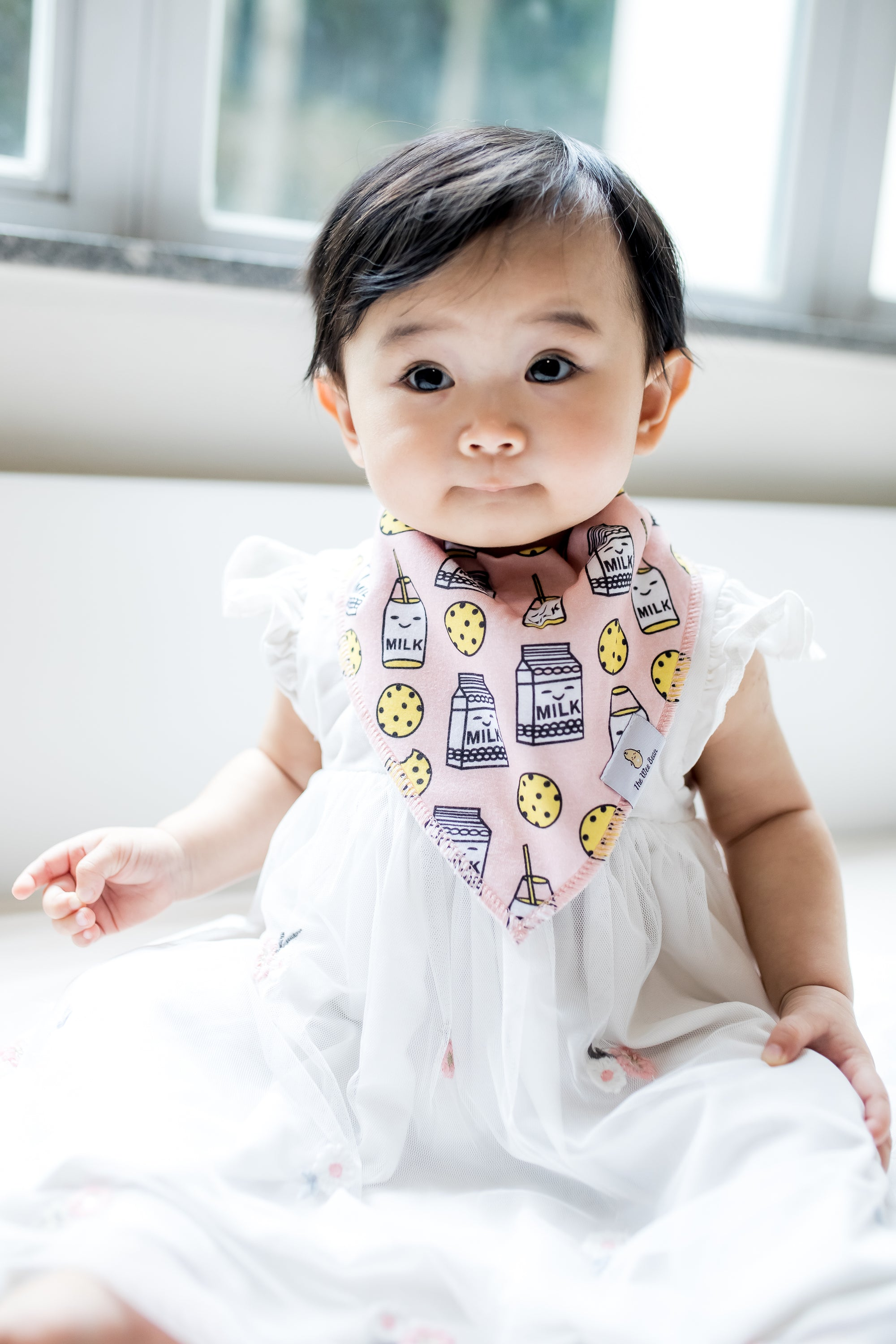the wee bean pretty baby in cookies and milk snacks pink organic cotton bandana bib
