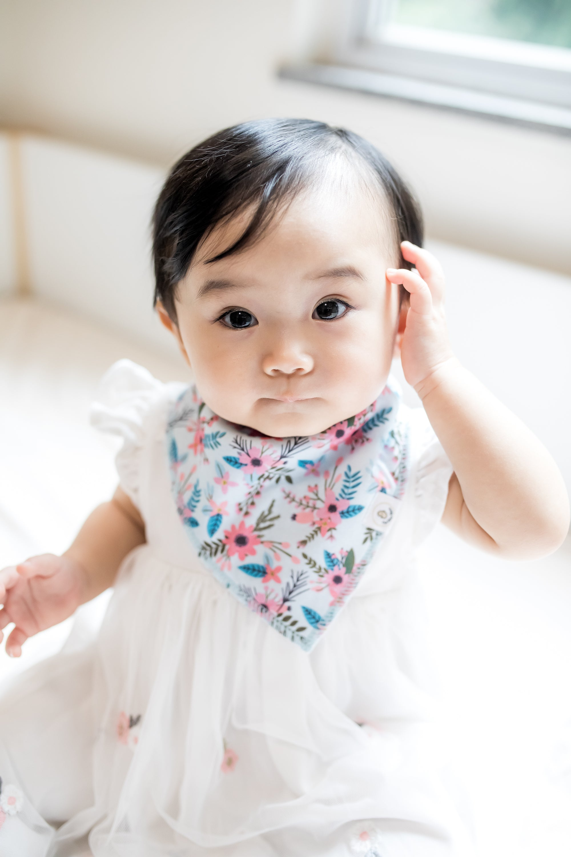 the wee bean pretty baby in floral blue flowers organic cotton bandana bib