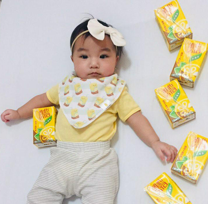 baby sammy in vita lemon tea bib the wee bean
