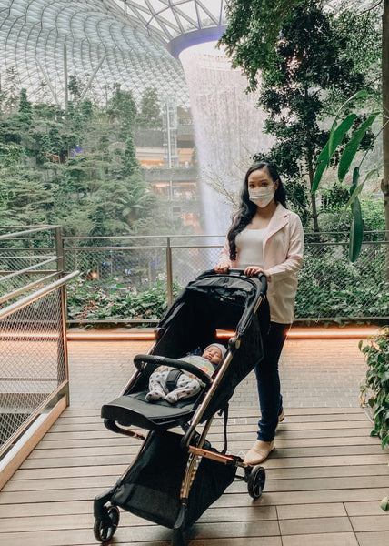 mommy fatin with baby afsyar in stroller