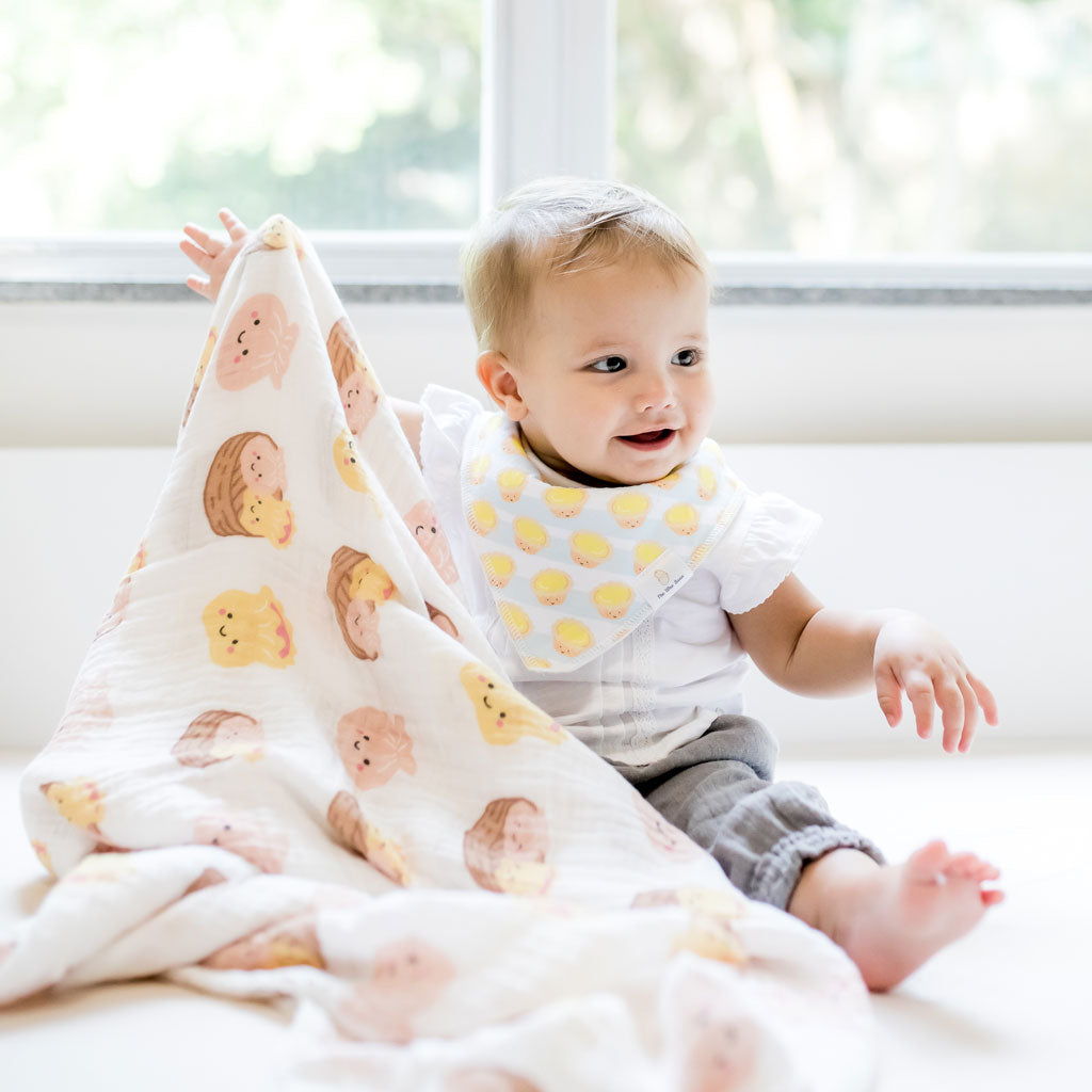 the wee bean taste of hong kong collection dim sum organic cotton swaddle bandana bib egg tart