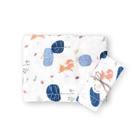 super soft bamboo organic cotton GOTS muslin swaddle blue tree fox baby blanket the wee bean
