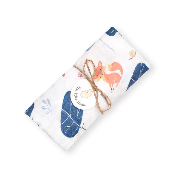 Bamboo Organic Cotton GOTS certified Muslin Swaddles Cloths Blue Tree Fox The Wee Bean