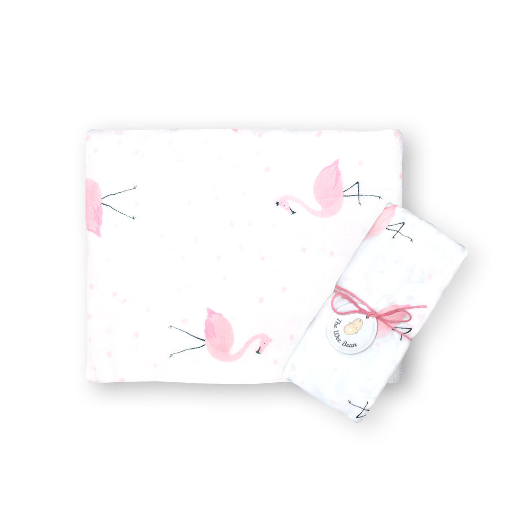 super soft bamboo organic cotton GOTS muslin swaddle pink flamingo baby blanket the wee bean