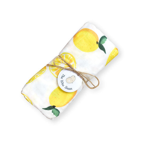 Bamboo Organic Cotton GOTS certified Muslin Swaddles Cloths Lemon The Wee Bean