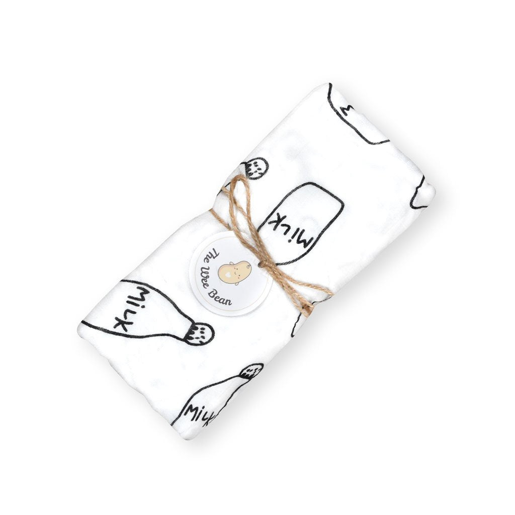 super soft bamboo organic cotton GOTS muslin swaddle black and white milk bottle baby blanket the wee bean