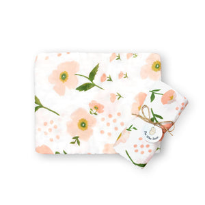 super soft bamboo organic cotton GOTS muslin swaddle pink cute flowers baby blanket the wee bean
