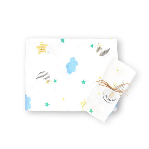 super soft bamboo organic cotton GOTS muslin swaddle blue cloud stars night baby blanket the wee bean