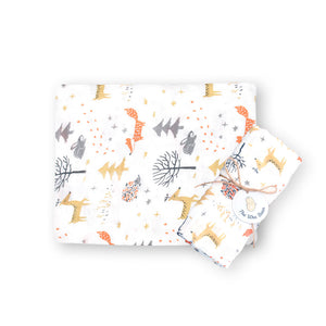 super soft bamboo organic cotton GOTS muslin swaddle orange brown woodland creatures deer fox baby blanket the wee bean