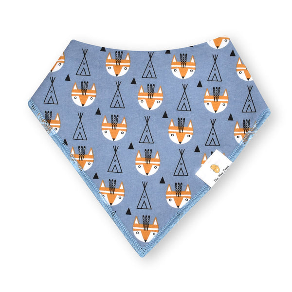 organic cotton GOTS certified bandana baby bibs woodland creatures fox teepee grey