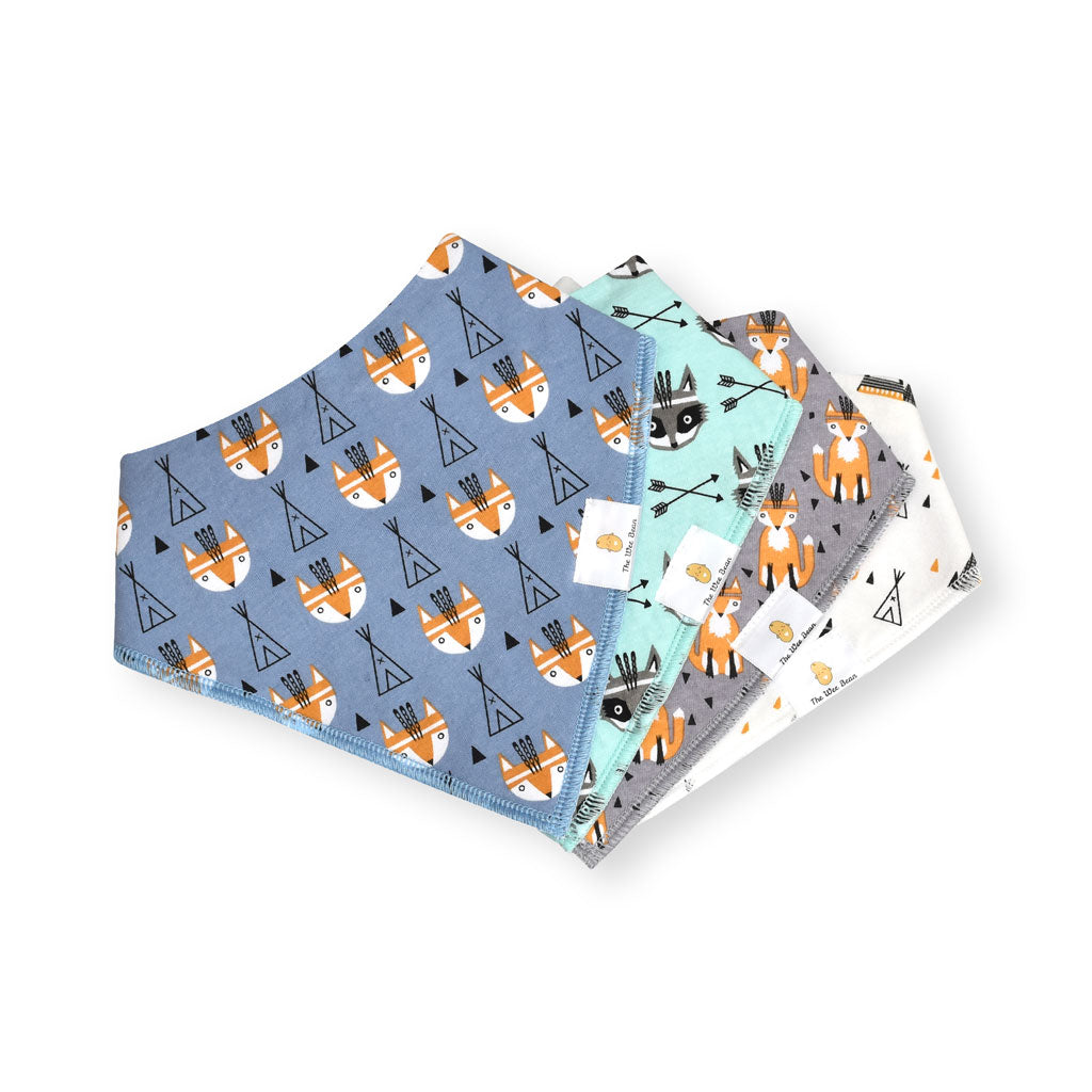 Organic Cotton Bandana Bibs 4pcs Set - Woodland Collection