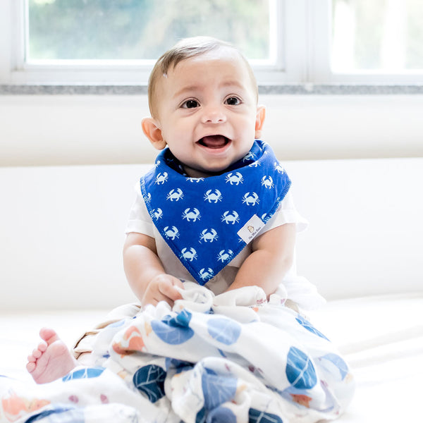 organic cotton baby bandana bibs GOTS certified blue boy crab under the sea collection