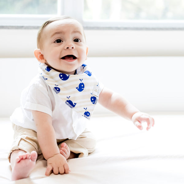 organic cotton baby bandana bibs GOTS certified blue boy whale under the sea collection