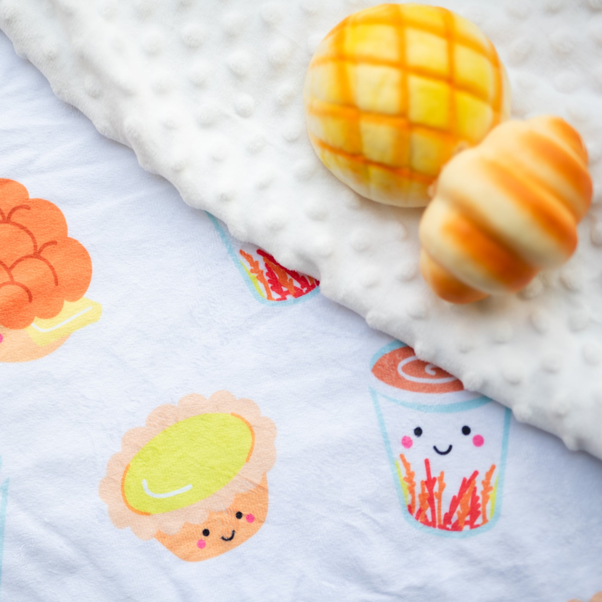 minky fleece soft baby blanket flat lay cha chaan teng taste of hong kong milk tea pineapple bun egg tart the wee bean