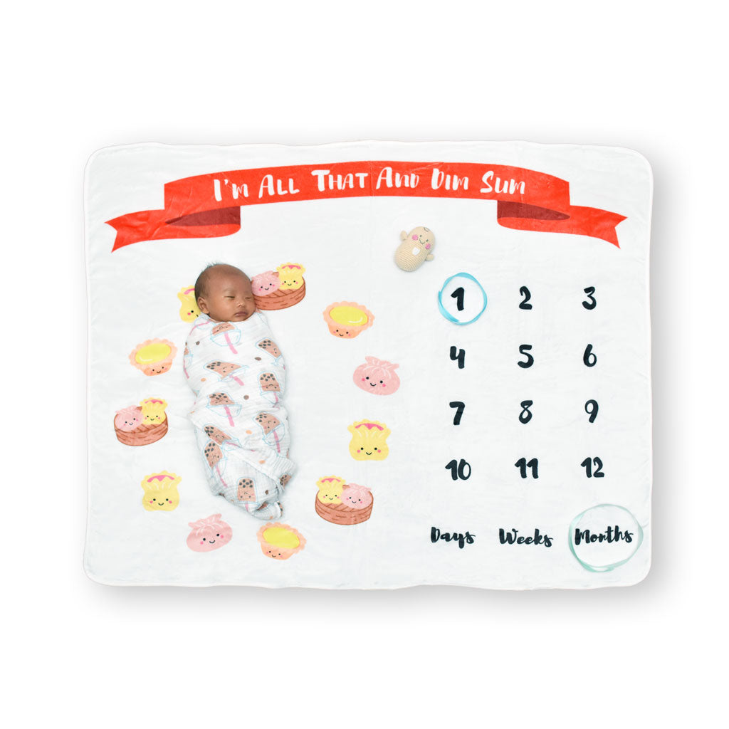 Fleece Milestone Blanket for Baby Photography - I'm All That and Dim Sum