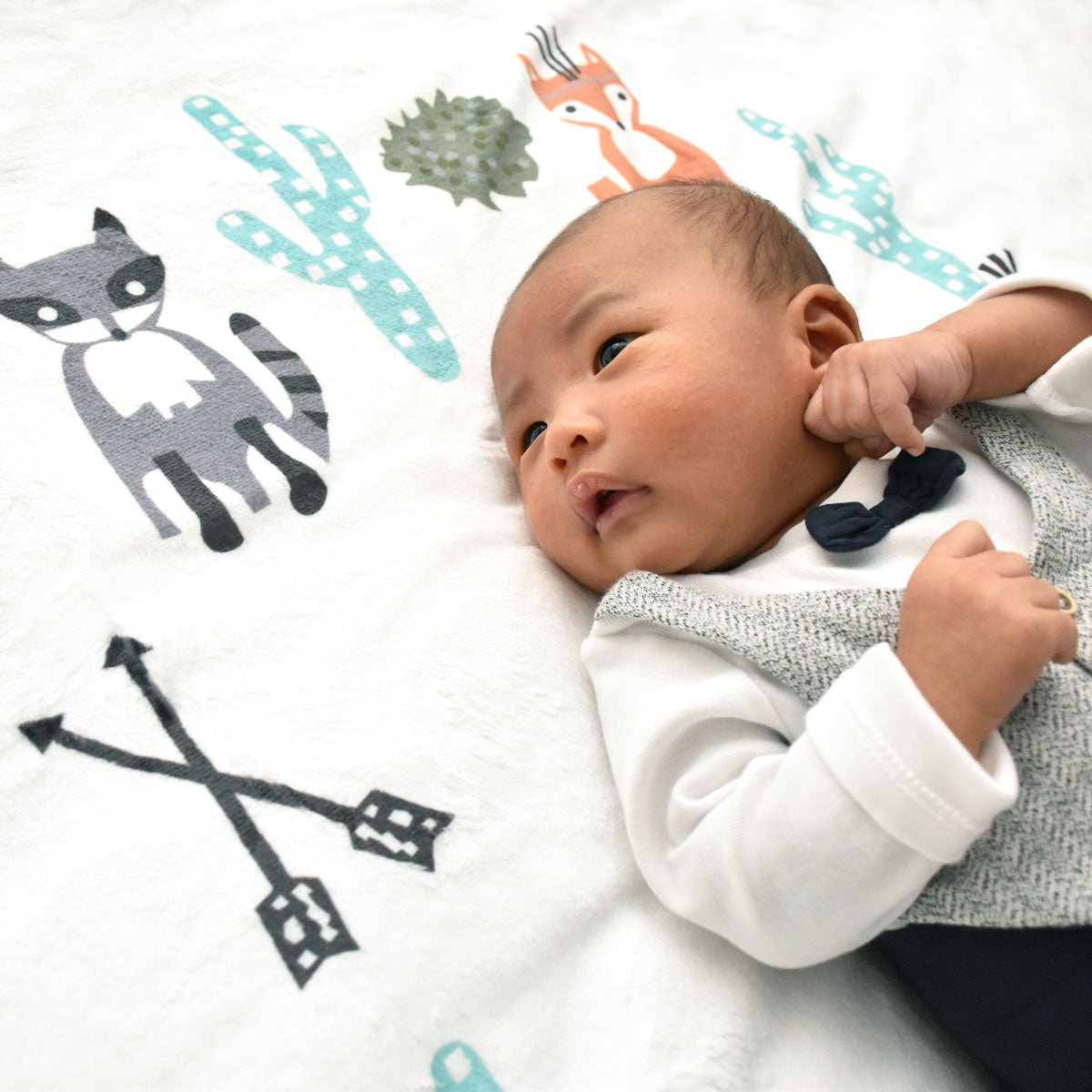 fleece milestone blanket for newborn photography growth blanket baby keepsake woodland creatures fox raccoon