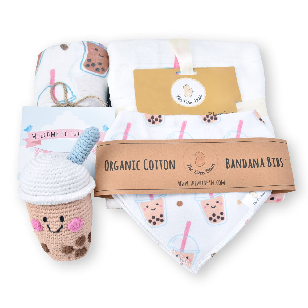 boba bubble tea baby organic swaddle milestone blanket fair trade boba bubble tea doll newborn gift set the wee bean