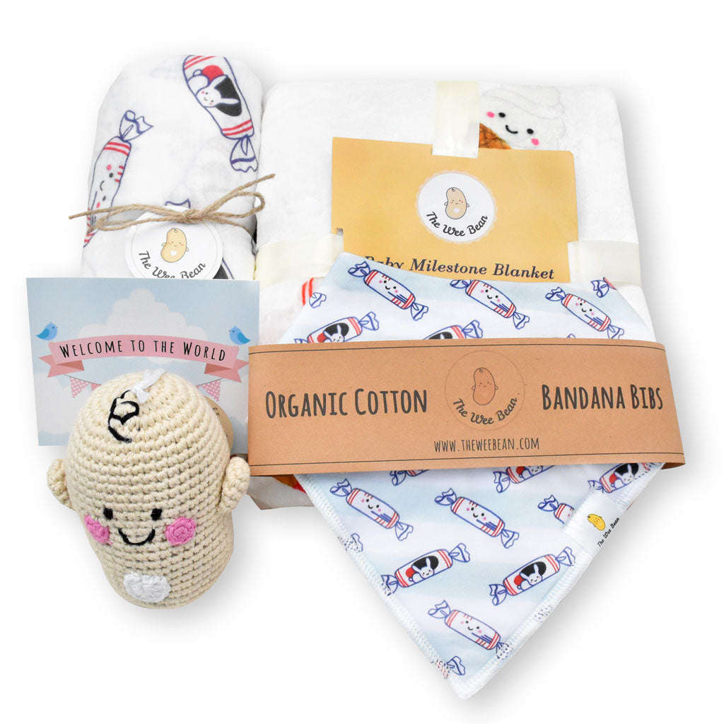 the wee bean organic cotton bamboo baby newborn baby shower gift set swaddle bib set milestone blanket fair trade doll white rabbit candy