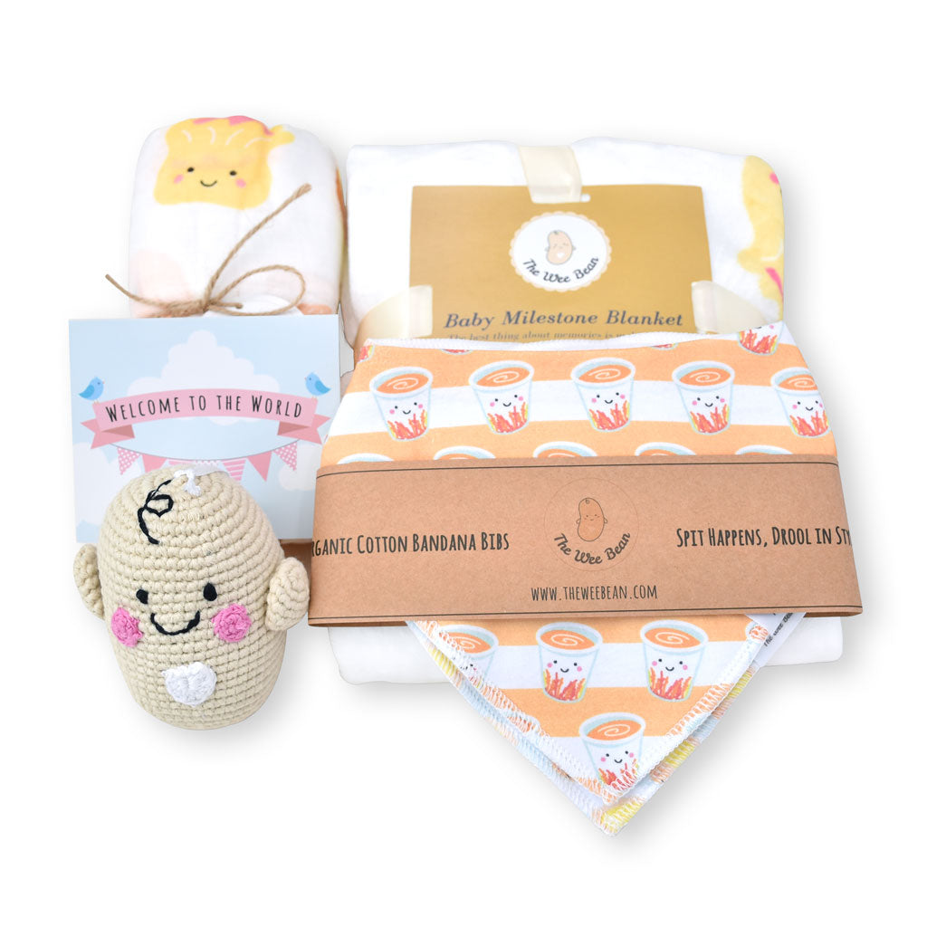the wee bean taste of hong kong baby newborn gift set milestone blanket organic swaddle fair trade rattle doll organic cotton bandana bibs